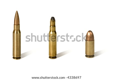 Close view of 3 bullets isolated on white background. - stock photo