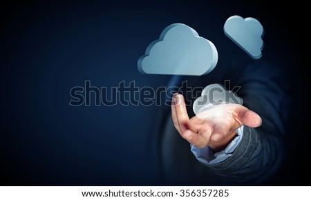 Close view of businessman showing cloud icons in palm