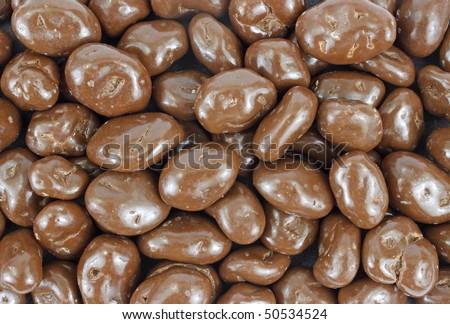 Close view of chocolate covered raisins - stock photo