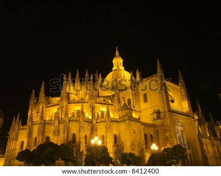 Close view of church at night in Segovia Spain