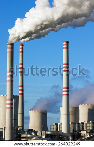 Close view of coal power plant - stock photo