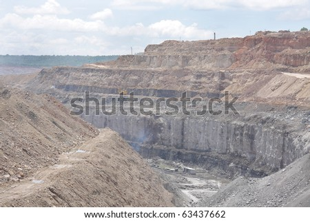 Close view of coal seam exposed in a open cast mine - stock photo