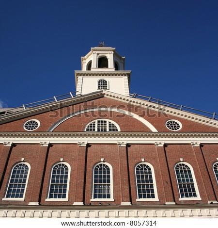 close view of Faneuil Hall Boston Massachusetts - stock photo