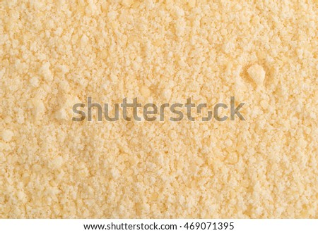 Close view of freshly grated parmesan cheese.