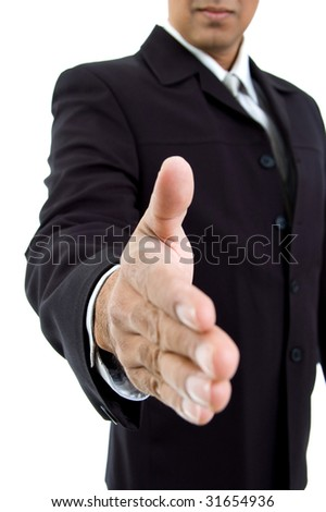 close view of hand shake gesture with white background - stock photo