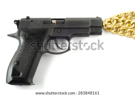 close view of handgun in holster - stock photo