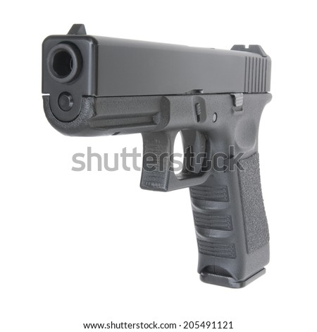 close view of handgun on pure white background - stock photo
