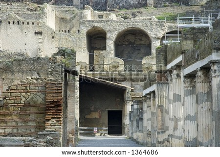 close view  of Herculaneum Excavations, ruins from the volcano eruption, Naples, Italy - stock photo