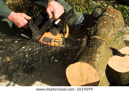 Close view of  male hands (and feet) cutting up logs with a chainsaw, the saw dust and chippings clearly visible spurting out behind - stock photo