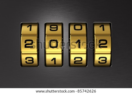 Close view of metal combination lock with code 2012 - stock photo