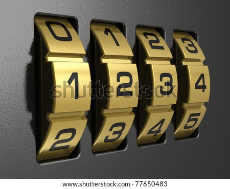 Close view of metal 4-digit combination lock - stock photo