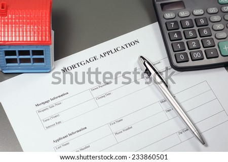 Close view of mortgage application form concept - stock photo