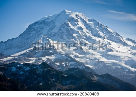Close view of Mount Rainier on a clear day - stock photo