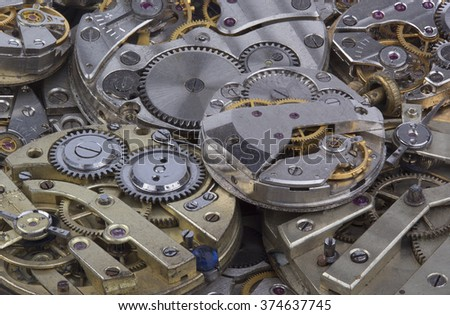 close view of old watches mechanism - stock photo