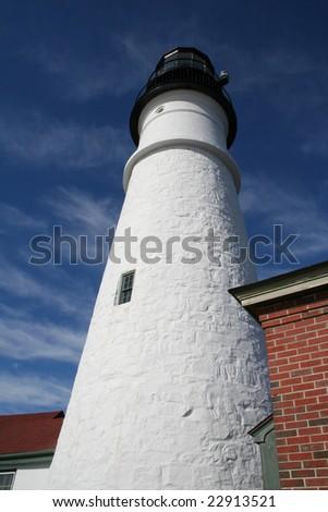 Close view of Portland Head Light, Portland, Maine, USA - stock photo