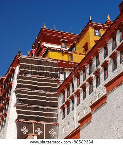 Close view of Potala palace, Tibet - stock photo