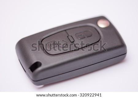 Close view of remote key car unlocking. - stock photo