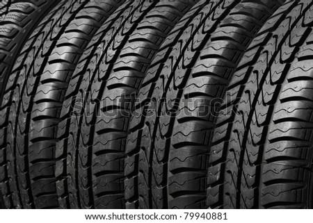 close view of rubber car tires - stock photo