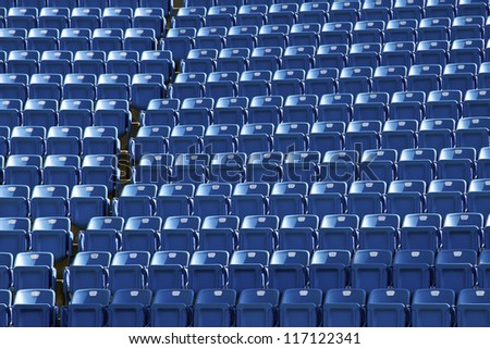close view of seats of stadium - stock photo