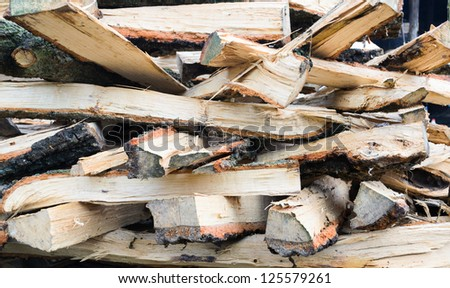 close view of stack firewood