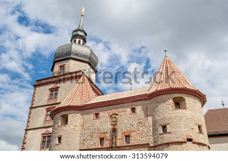 """Close view of the ancient castle """"Marienberg"""" of Wuerzburg in Bavaria - stock photo"""