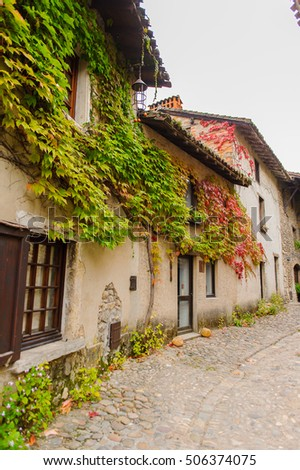 Close view of the authentic stone house of Perouges, France, a medieval walled town, a popular touristic attraction.