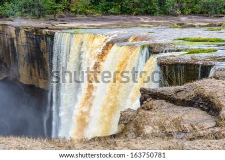 Close view of the Kaieteur Falls, a waterfall on the Potaro River, Kaieteur National Park, Guyana, South America - stock photo