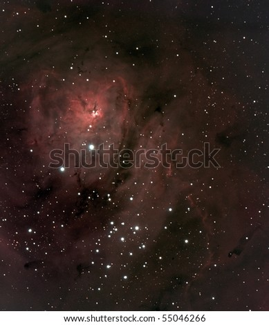 Close view of the Lagoon Nebula - stock photo