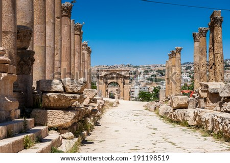 Close view of the ruins of the Ancient Roman city of Gerasa of Antiquity , modern Jerash, Jordan
