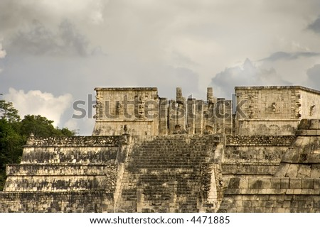 Close view of the Warriors Temple and columns with its beautiful carved glyphs and sculptures in Chichen Itza site,  Yucatan Peninsula, Mexico