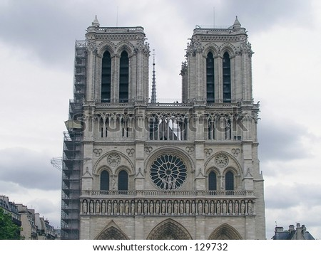 close view of towers of Notre-Dame cathedral in Paris, France