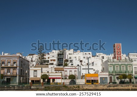 Close view of typical house architecture in Ayamonte, Spain. - stock photo