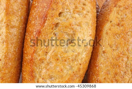 Close view of wheat sub rolls