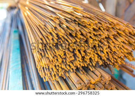 Close view on the steel reinforcing bars - stock photo
