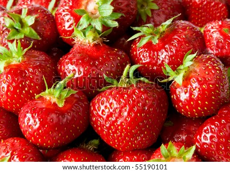 Close view to fresh strawberry