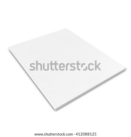 Close white journal, magazine with blank pages, isolated on white background. 3D illustration - stock photo