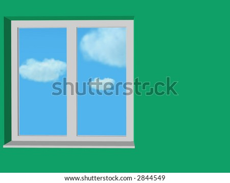 close window in green wall and blue sky and clouds