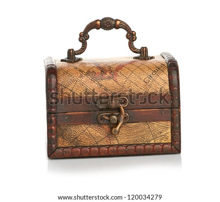 close wooden chest isolated on white background