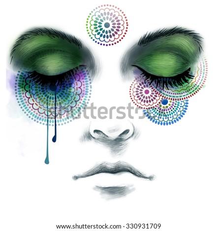 Close you eyes, illustration - stock photo