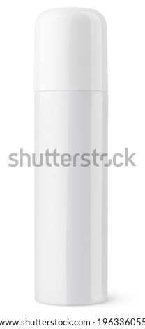 Closed aerosol spray metal bottle can isolated on white with clipping path - stock photo