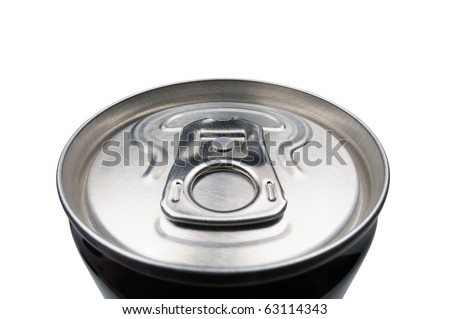 Closed aluminum can for soft drinks or beer. Macro. Isolated on white. - stock photo