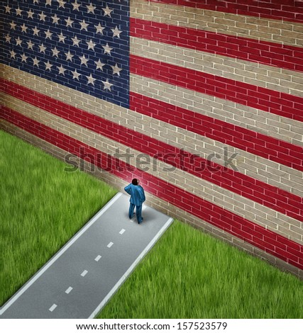 Closed America and United States government shutdown concept as a metaphor for US closure or strict immigration policy as a businessman on a road blocked  by giant brick wall with a painted flag. - stock photo