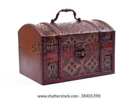 closed and locked treasure chest on white background