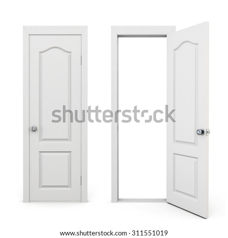 Closed and open door isolated on white background. 3d rendering. - stock photo