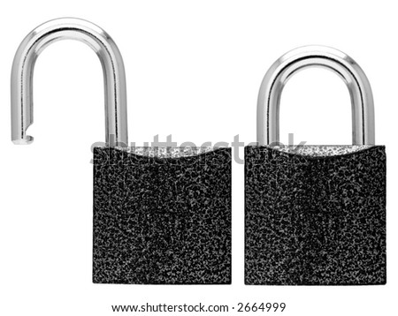 Closed and opened lock. Isolated. Over white. With path - stock photo