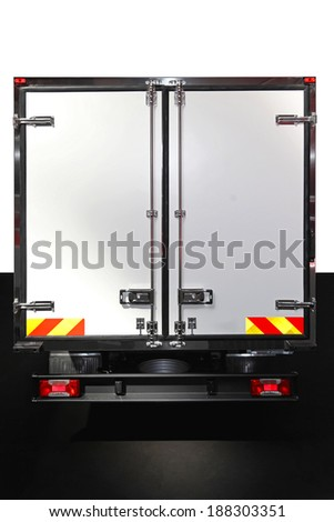 Closed back doors at delivery truck - stock photo