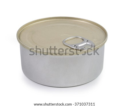 Closed bank of canned food on white background - stock photo