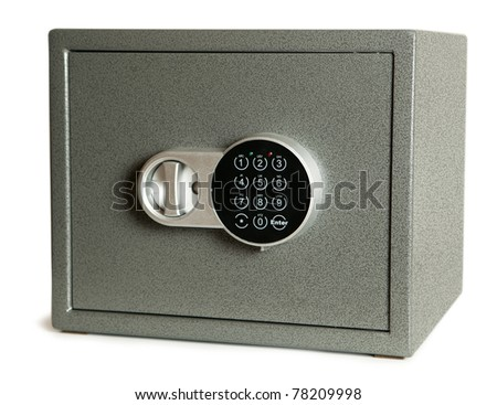 closed bank safe isolated on white - stock photo