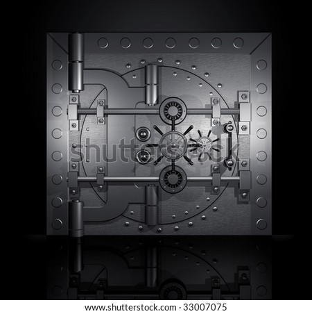 closed bank vault, 3D render - stock photo