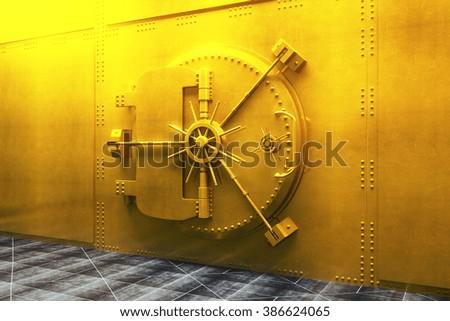 Closed bank vault door in gold. 3D Render - stock photo